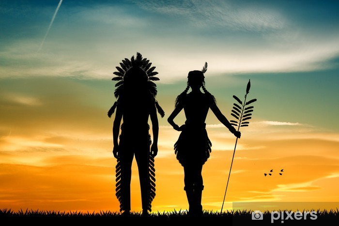 Indians couple silhouette at sunset Vinyl Wall Mural - PI-31