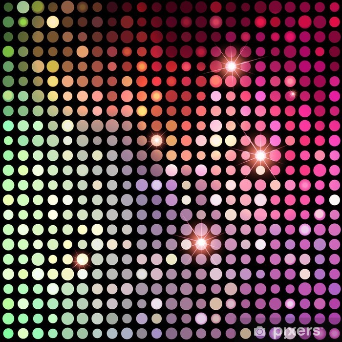 Sticker Pixerstick Colorful Dots Abstract Disco. Vector Background - Ressources graphiques