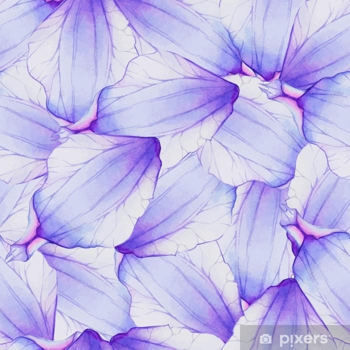 Pixerstick Sticker Aquarel naadloze patroon met paarse bloemblad - Bloemen en Planten