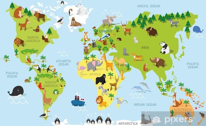 Vinil Duvar Resmi Tüm kıtalarda ve okyanuslarda geleneksel hayvanlarla komik karikatür dünya haritası. Okulöncesi eğitim ve çocuk tasarımı için vektör çizim -