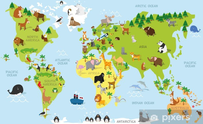 Funny cartoon world map with traditional animals of all the continents and oceans. Vector illustration for preschool education and kids design Pixerstick Sticker - PI-31