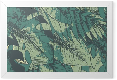 Seamless pattern with green hand drawn tropical plants Framed Poster