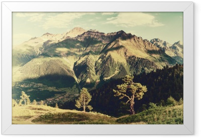 Vintage landscape with trees and mountains Framed Poster