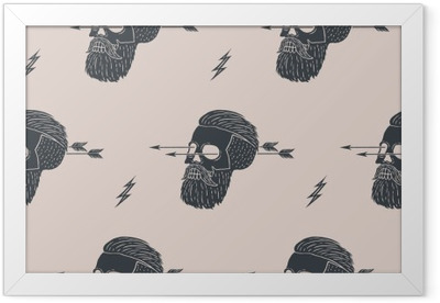 Seamless pattern background of vintage skull hipster with arrow. Graphic design for wrapping paper and fabric texture of shirt. Vector Illustration Framed Poster