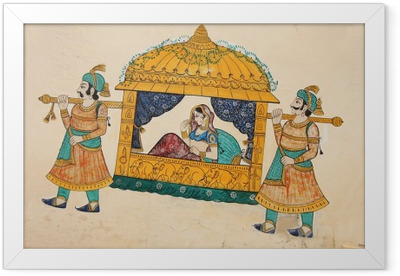 Traditional ancient wall painting of indian woman being taken Framed Poster