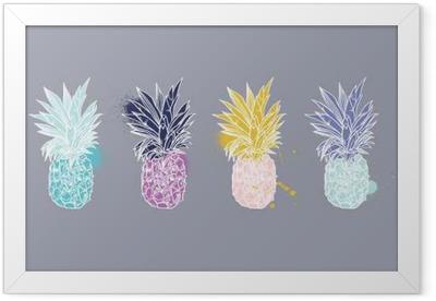 Pineapple tropical fruit. Vector object. Framed Poster