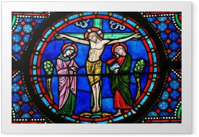 Stained Glass - Jesus on the Cross Framed Poster