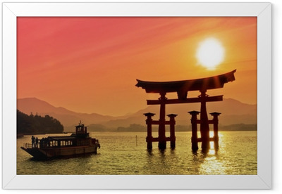 Sunset view of Torii gate, Miyajima, Japan Framed Poster
