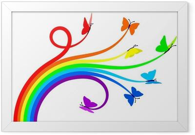 Rainbow butterflies Framed Poster