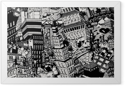 City, an illustration of a large collage, with houses, cars and people Framed Poster