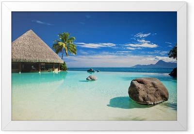 Infinity pool with artificial beach and ocean Framed Poster