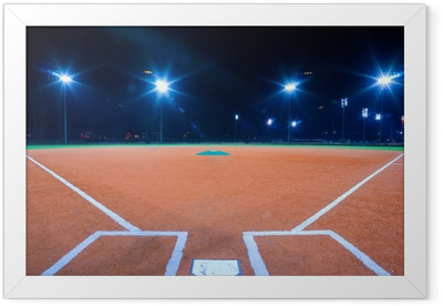 Baseball diamond at night Framed Poster