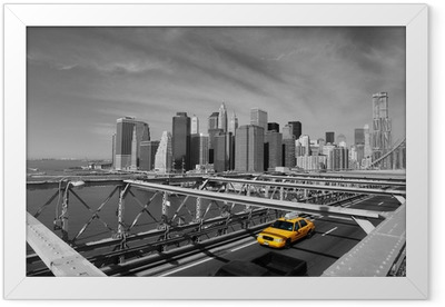 Brooklyn Bridge Taxi, New York Framed Poster