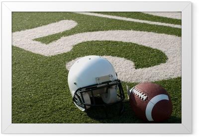 American Football Equipment on Field Framed Poster