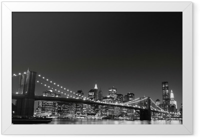 Brooklyn Bridge and Manhattan Skyline At Night, New York City Framed Poster
