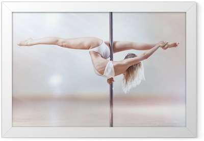Young pole dance woman Framed Poster