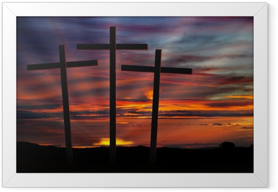 three crosses at sunset Framed Poster