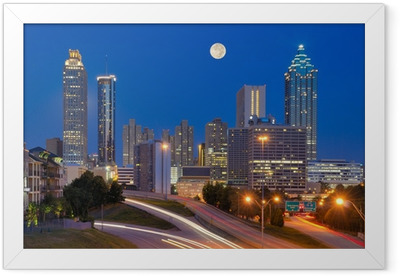 Atlanta Skyline under Full Moon Framed Poster