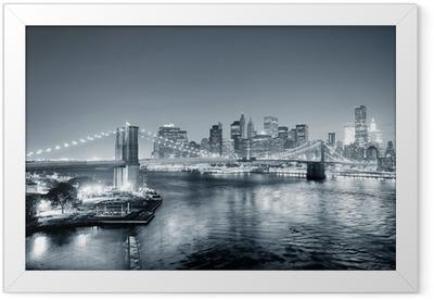 New York City Manhattan downtown black and white Framed Poster