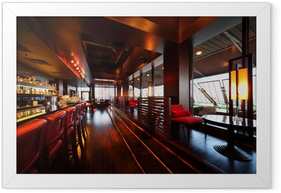 Row of tables, seats and bar counter with chairs in restaurant Framed Poster