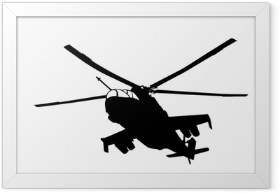 Mi-24 (Hind) helicopter silhouette Framed Poster