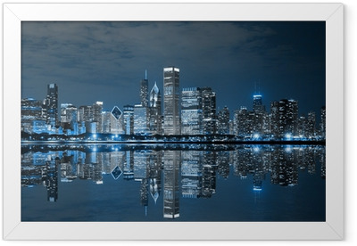 Chicago Downtown at Night Framed Poster