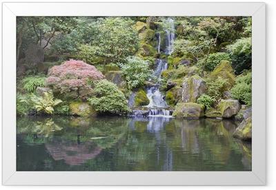 Japanese Garden Koi Pond with Waterfall Framed Poster