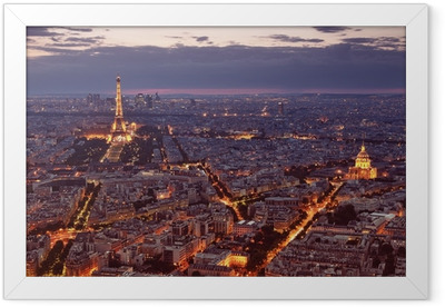 Night view of Paris. Framed Poster