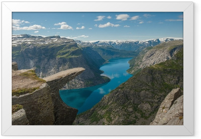 Trolltunga, Troll's tongue rock, Norway Framed Poster