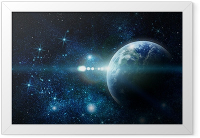 realistic planet earth in space Framed Poster