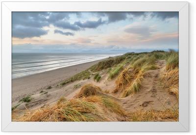 Rossbeigh beach dunes at sunset, Ireland Framed Poster