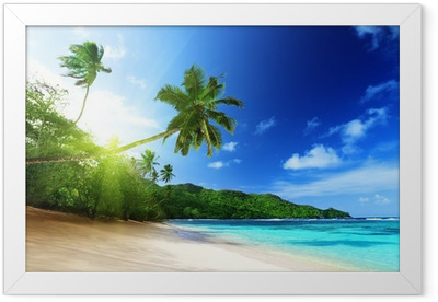 beach in sunset time on Mahe island in Seychelles Framed Poster