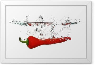 Red Pepper splash Framed Poster