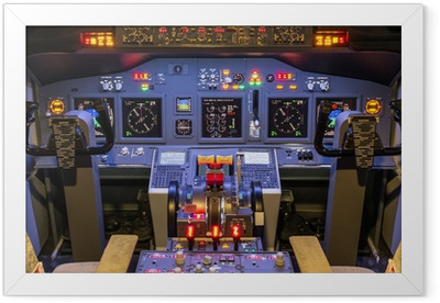 Cockpit of an homemade Flight Simulator - Boeing 737-800 Framed Poster