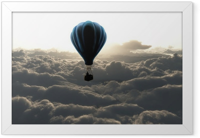 e297ab3e Hot air balloon in the sky Framed Poster