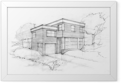 Sketch of a modern cubic house. First idea of an architect. Framed Poster