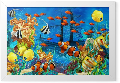 The coral reef - illustration for the children Framed Poster
