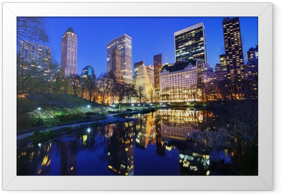 Central Park at Night in New York City Framed Poster