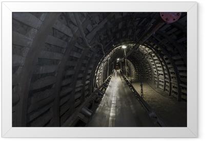 Coal mine machinery: belt conveyor in underground tunnel Framed Poster