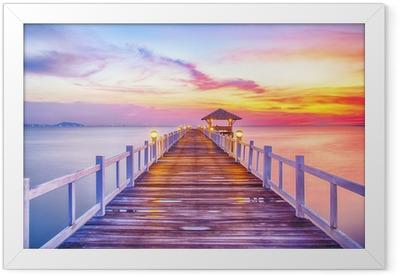 Wooded bridge in the port between sunrise Framed Poster
