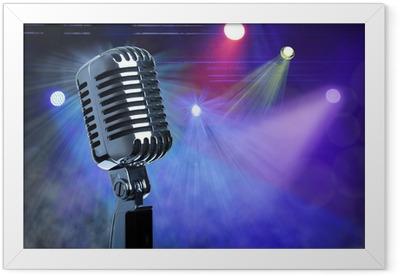Vintage microphone on stage Framed Poster