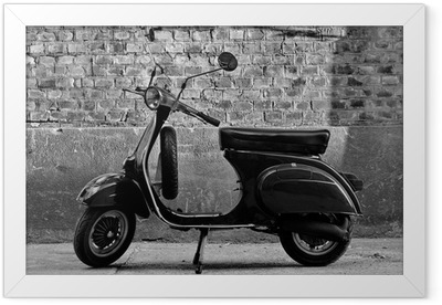 Scooter in front of a wall Framed Poster