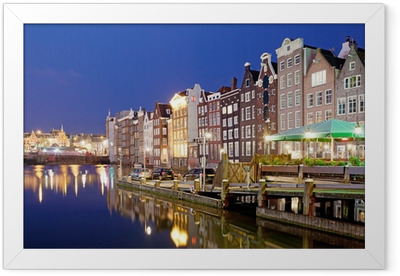 City of Amsterdam at Night Framed Poster