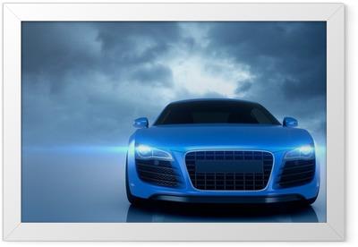 Blue Sport Car Framed Poster