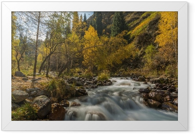 autumn landscape mountain river Framed Poster