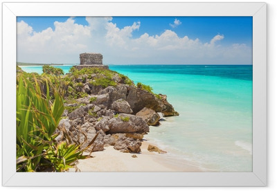 God of Winds Temple on turquoise Caribbean sea. Tulum, Mexico Framed Poster