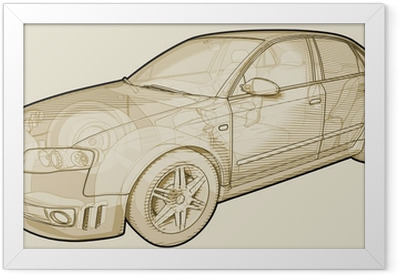 Perspective sketchy illustration of an Audi A4. Framed Poster