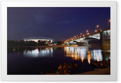 Poniatowski Bridge and National Stadium in Warsaw by night. Framed Poster