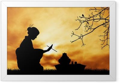 Tea ceremony at sunset Framed Poster