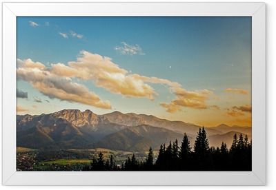 View on panorama of Tatras at sunset, Poland. Framed Poster